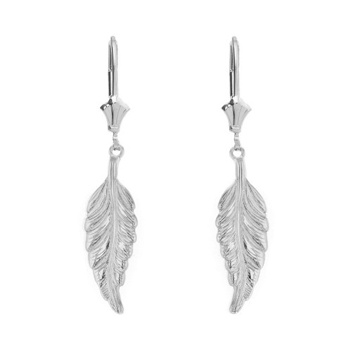 14K  Solid White Gold Bohemia Boho Feather Drop Earring Set