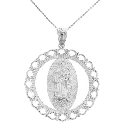 """Solid White Gold Scalloped Edge Frame Openwork Our Lady of Guadalupe Pendant Necklace 1.59"""" (40 mm)"""