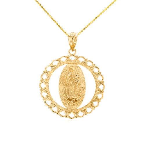 """Solid Yellow Gold Scalloped Edge Frame Openwork Our Lady of Guadalupe Pendant Necklace 1.24"""" ( 31 mm)"""