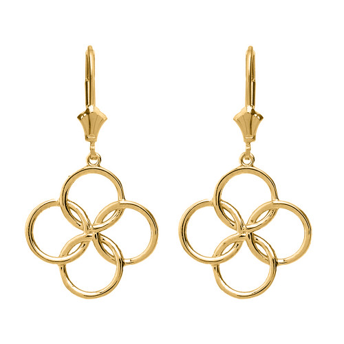 14K Solid Yellow Gold Lucky Quatrefoil Four Circle Petals Drop Earring Set