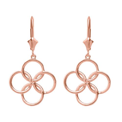 14K Solid Rose Gold Lucky Quatrefoil Four Circle Petals Drop Earring Set