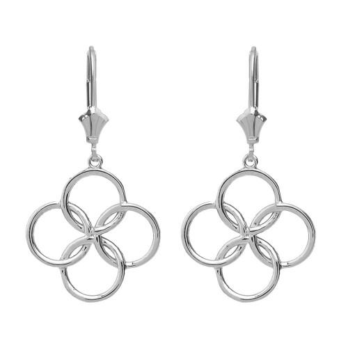 Sterling Silver Lucky Quatrefoil Four Circle Petals Drop Earring Set