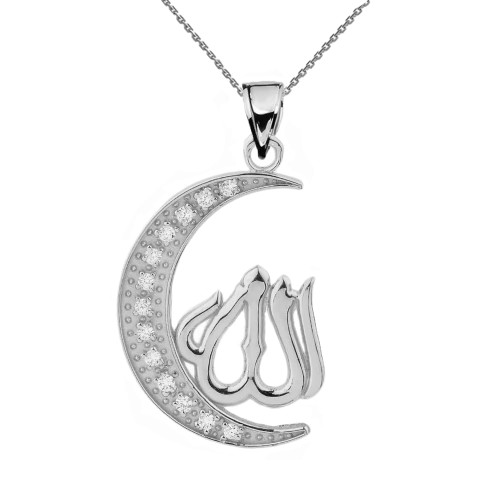 White Gold with Cubic Zirconia Moon and Allah Pendant Necklace