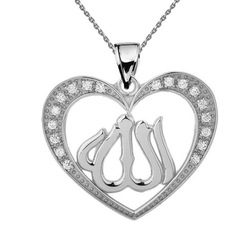 Sterling Silver Cubic Zirconia Heart with Allah Pendant Necklace