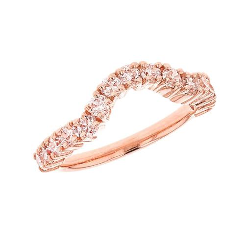 Rose Gold Chevron Engagement Band