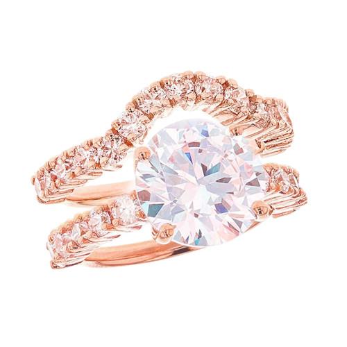 Rose Gold Chevron Engagement Set
