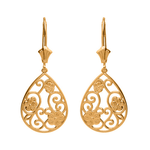 14K Solid Yellow Gold Filigree Teardrop Floral Drop Earring Set