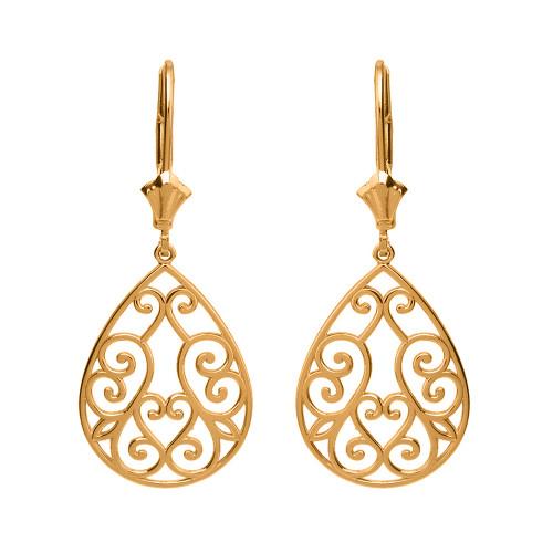 14K Solid Yellow Gold Filigree Swirl Heart Teardrop Drop Earring Set