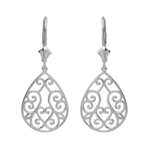 14K Solid White Gold Filigree Swirl Heart Teardrop Drop Earring Set