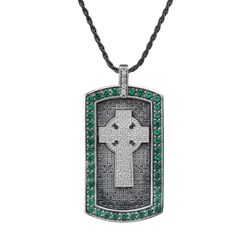 Vintage Sterling Silver Celtic Cross Engravable Dog Tag Pendant