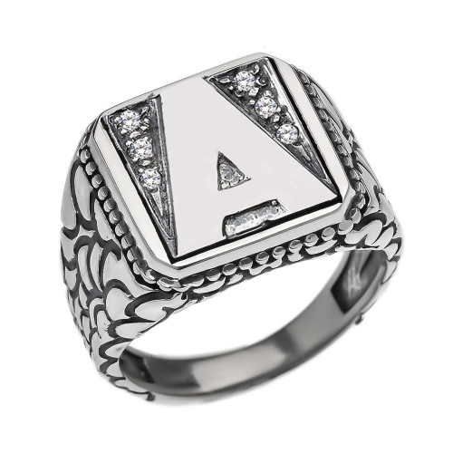 "Sterling Silver Men's Initial ""A"" Ring"