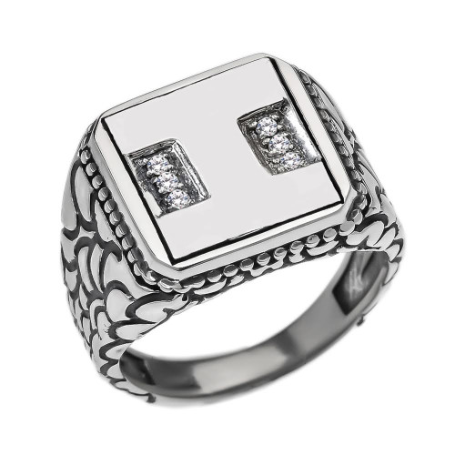 "Sterling Silver Men's Initial ""I"" Ring"