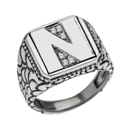 "Sterling Silver Men's Initial ""N"" Ring"