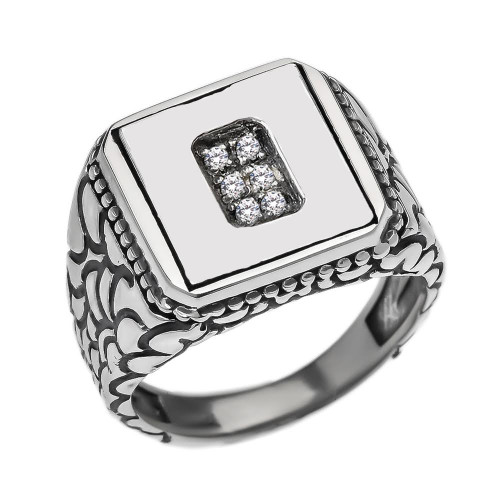 "Sterling Silver Men's Initial ""O"" Ring"