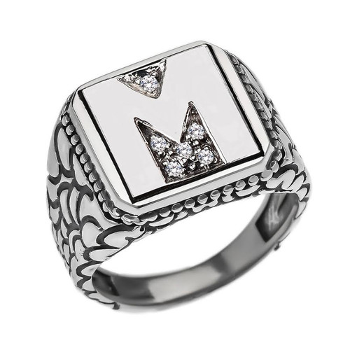"Sterling Silver Men's Initial ""M"" Ring"