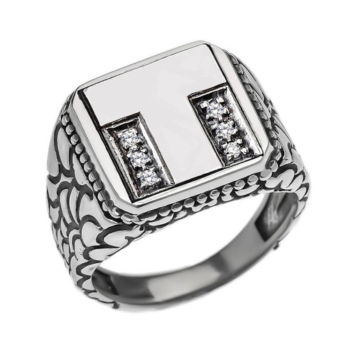 "Sterling Silver Men's Initial ""T"" Ring"