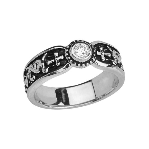 White Gold Diamond Side Way Cross Vintage Solitaire Wedding Band/Ring