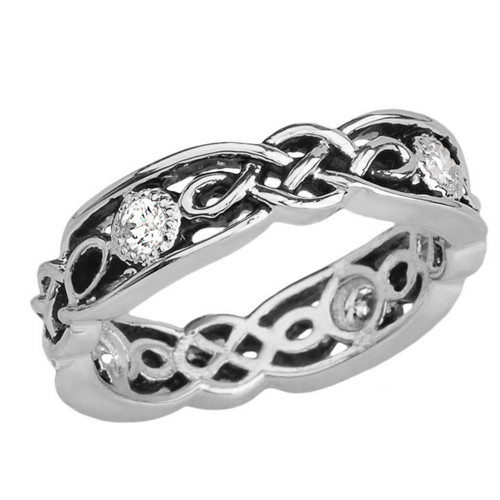 Black and White Gold Diamond Vintage Celtic Wedding Band