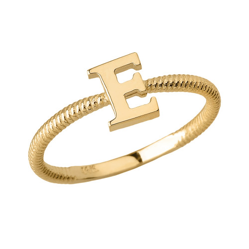 Solid Yellow Gold Alphabet Initial Letter E Stackable Ring
