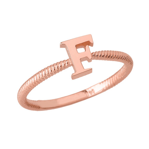 Solid Rose Gold Alphabet Initial Letter F Stackable Ring