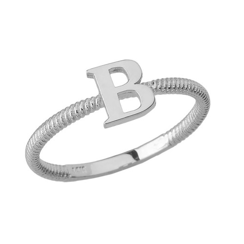 Solid White Gold Alphabet Initial Letter B Stackable Ring