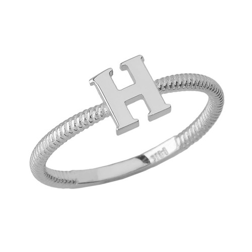 Solid White Gold Alphabet Initial Letter H Stackable Ring