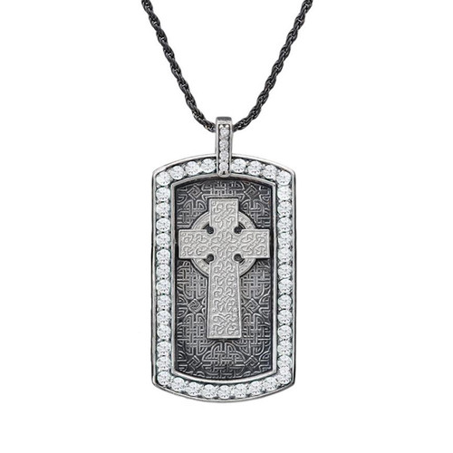 Vintage Sterling Silver with White Stone Celtic Cross Engravable Dog Tag Pendant