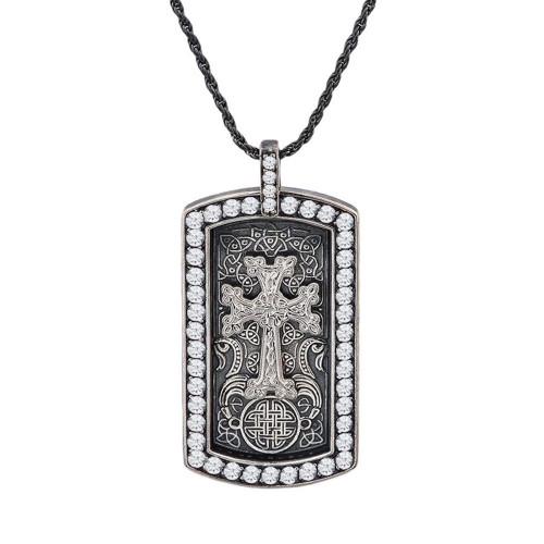 Vintage Sterling Silver with White Stone Armenian Khachkar Engravable Dog Tag Pendant