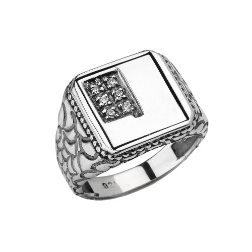 "Sterling Silver Men's Initial ""J"" Ring"