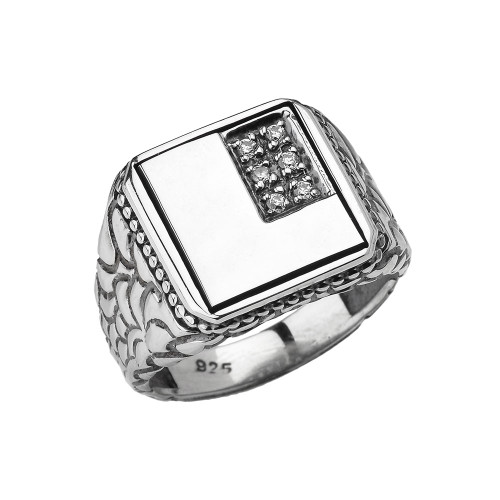 "Sterling Silver Men's Initial ""L"" Ring"