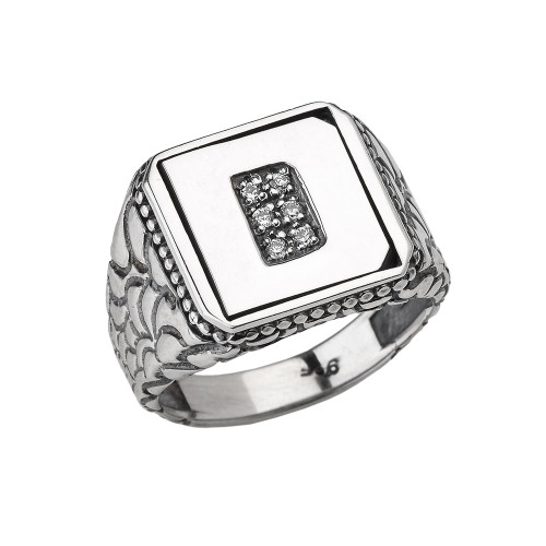 "Sterling Silver Men's Initial ""D"" Ring"