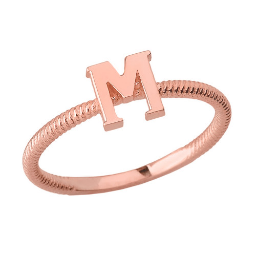Solid Rose Gold Alphabet Initial Letter M Stackable Ring