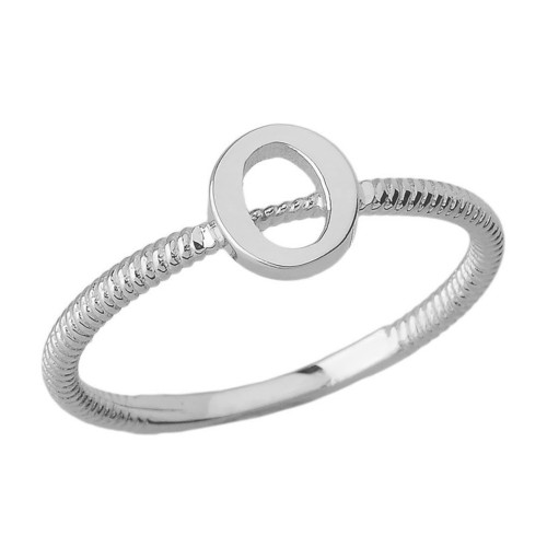 Sterling Silver Alphabet Initial Letter O Stackable Ring