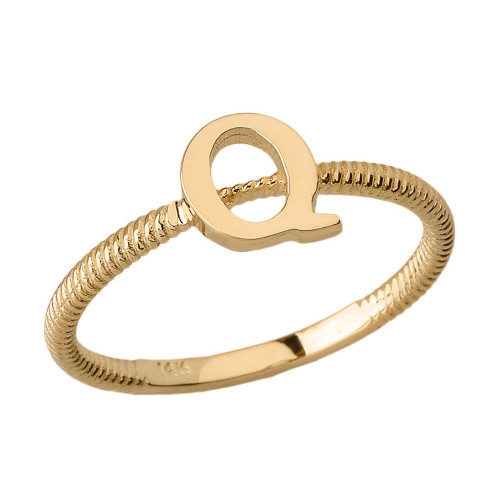 Solid Yellow Gold Alphabet Initial Letter Q  Stackable Ring
