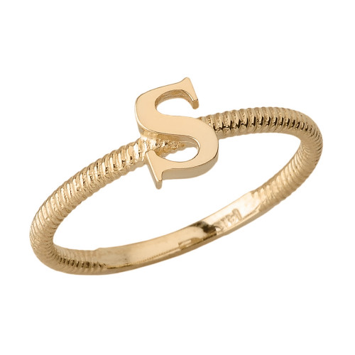Solid Yellow Gold Alphabet Initial Letter S Stackable Ring