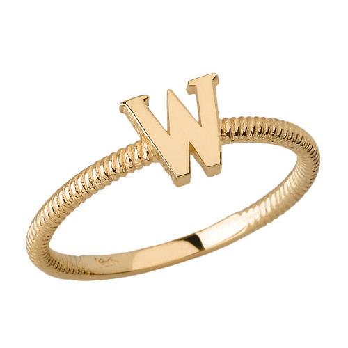 Solid Yellow Gold Alphabet Initial Letter W Stackable Ring