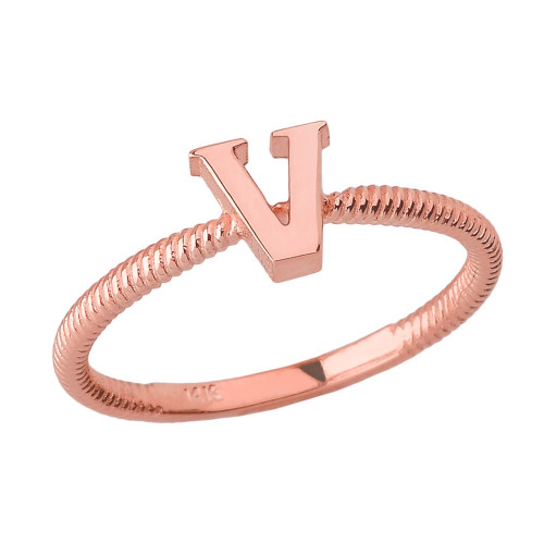 Solid Rose Gold Alphabet Initial Letter V  Stackable Ring