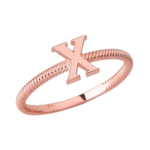 Solid Rose Gold Alphabet Initial Letter X Stackable Ring