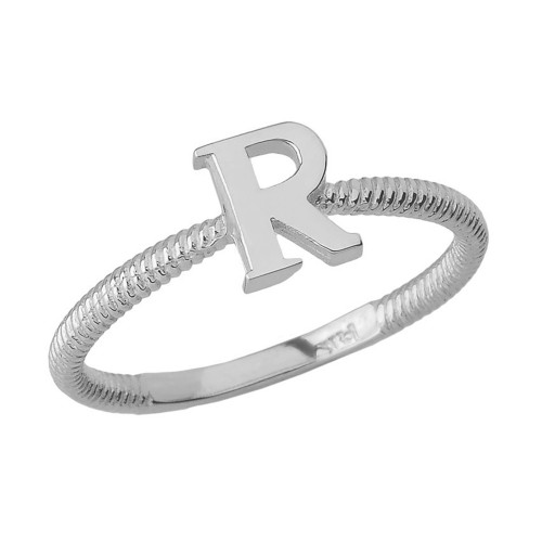 Solid White Gold Alphabet Initial Letter R Stackable Ring