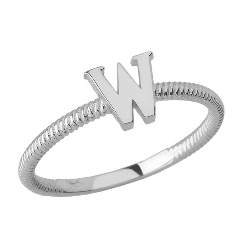 Solid White Gold Alphabet Initial Letter W Stackable Ring