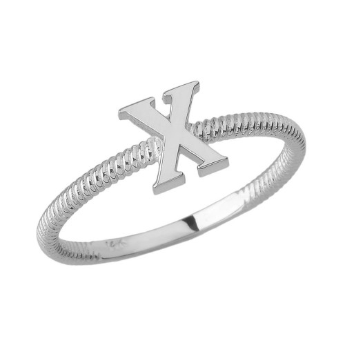 Solid White Gold Alphabet Initial Letter X Stackable Ring