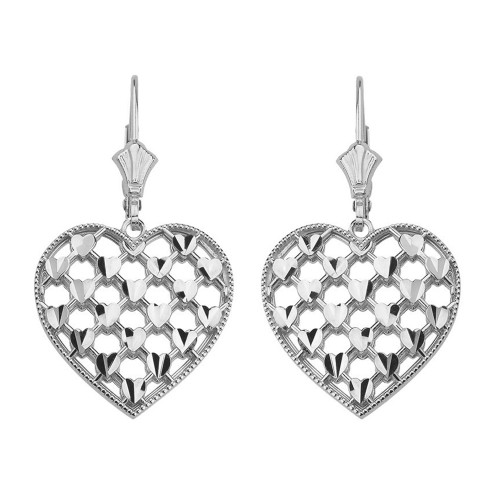14K Solid White Gold Double Layered Woven Hearts Filigree Heart Shaped  Drop Earring Set