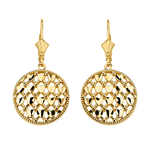 14K Solid Yellow Gold Double Layered Woven Hearts Filigree Circular Drop Earring Set