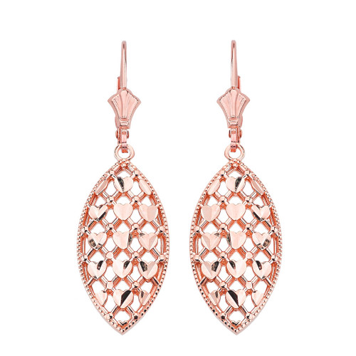 14K Solid Rose Gold Double Layered Woven Hearts Filigree Marquise Shape Drop Earring Set