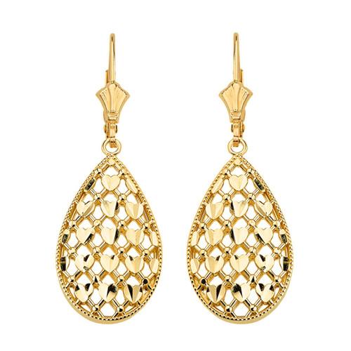 14K Solid Yellow Gold Double Layered Woven Hearts Filigree Teardrop Shape Drop Earring Set