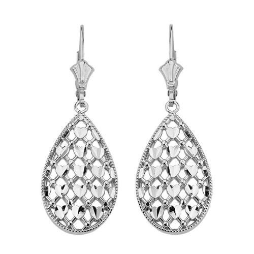 Sterling Silver Double Layered Woven Hearts Filigree Teardrop Shape Drop Earring Set