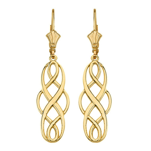 14K Solid Yellow Gold Celtic Knot Infinity Drop Earring Set