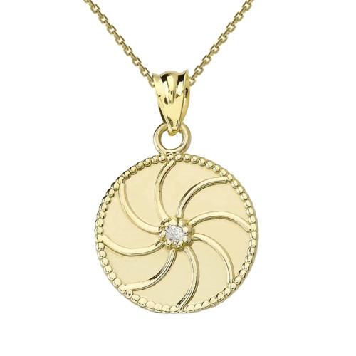 Yellow Gold Armenian Diamond Eternity Pendant Necklace