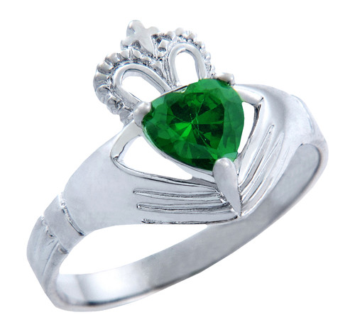 Silver Claddagh Ring with Emerald Birthstone.