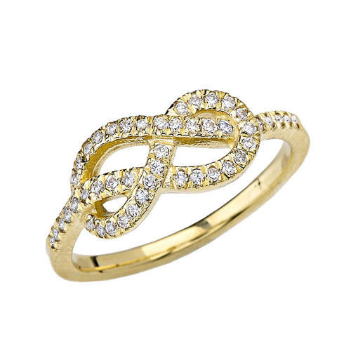 Yellow Gold Eight Knot Diamond Infinity Ring